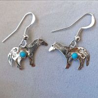 Sterling Silver and Turquoise Horse Southwest Earrings | eBay