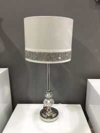 White Chrome & Crystal Silver Diamante Sparkle Bedside ...