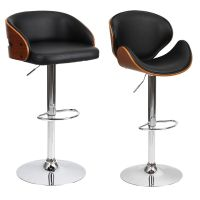Barstool Chair Walnut Bentwood Faux PU Leather Swivel ...