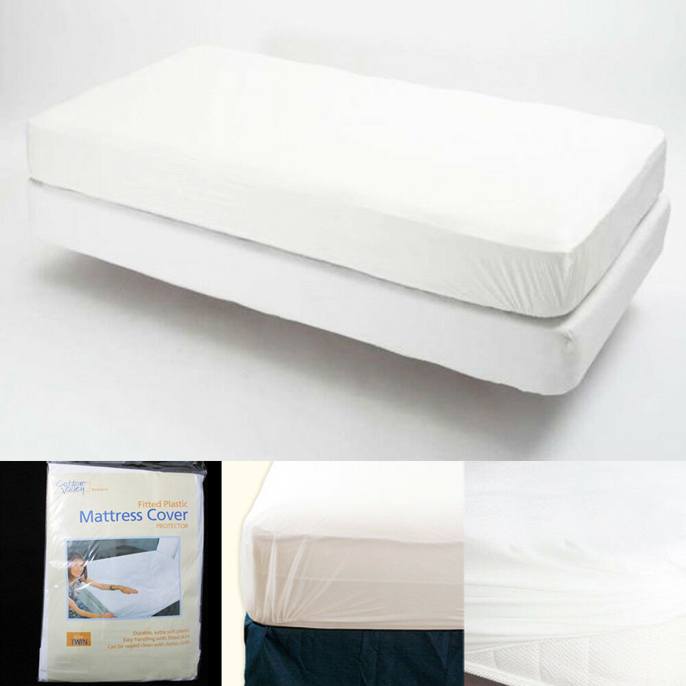 Twin Size Fitted Mattress Cover Vinyl Waterproof Allergy Dust Bug Protector New 7795735127421  eBay