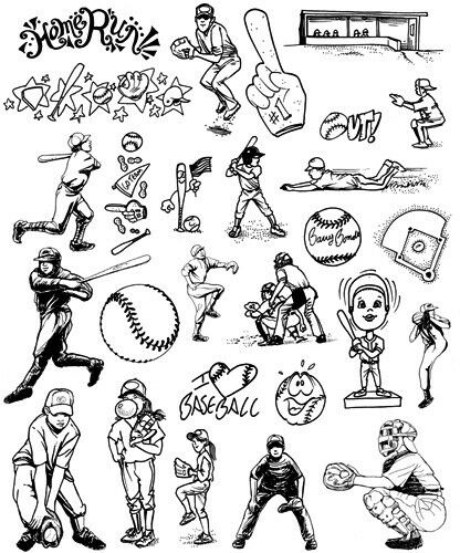 Unmounted Rubber Stamps Sheets, Sports Stamps, Baseball