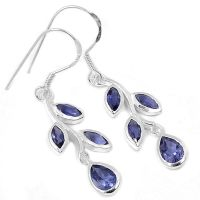 Iolite 925 Sterling Silver Earrings Jewelry AAAER2191I