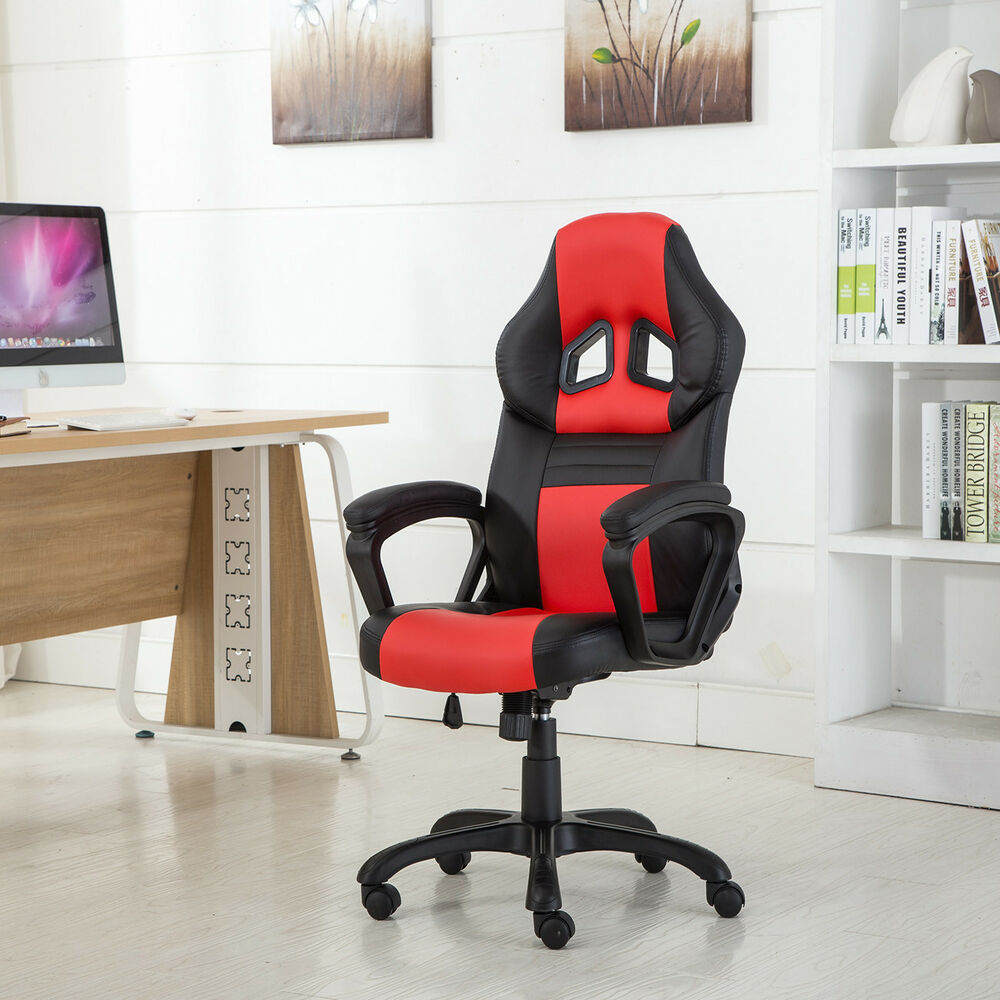red and black gaming chair tufted barrel high back race car style bucket seat office desk | ebay