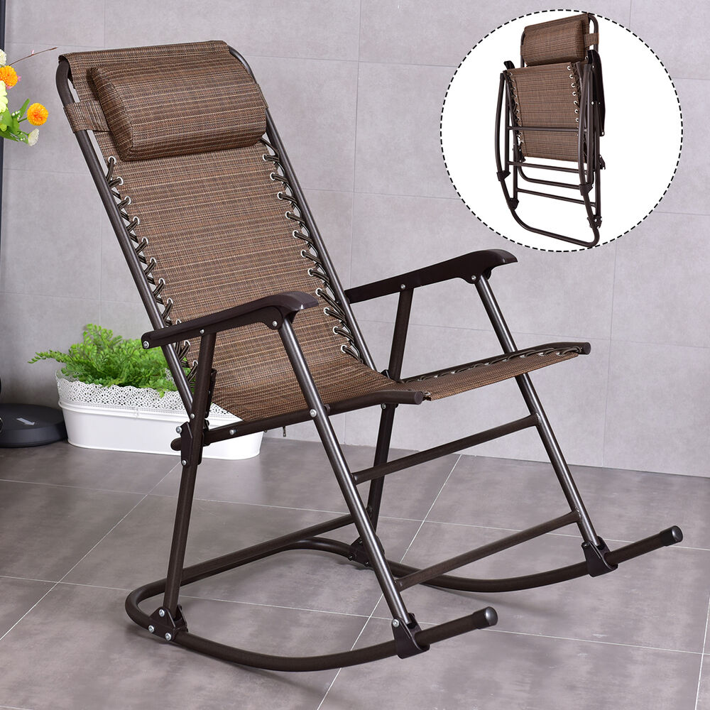 Folding Rocking Chair Porch Patio Indoor Rocker With