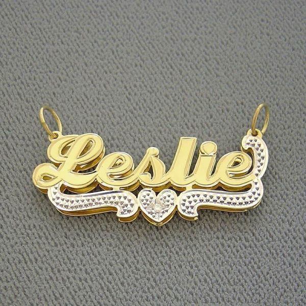 Junior Personalized Necklace 10k Gold 3d Double Plate