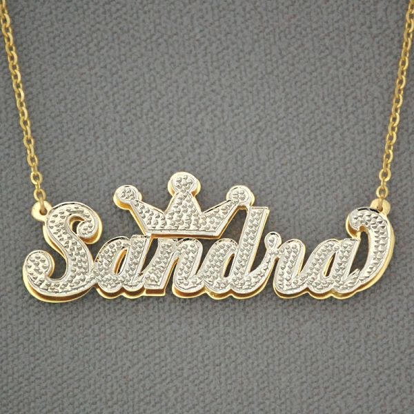 10k Gold Personalized 3d Double Plate Pendant Necklace Crown Jewelry Nd29