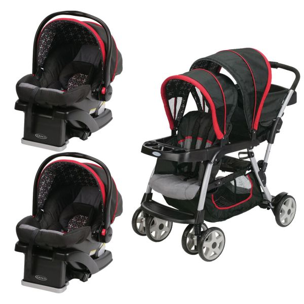 Graco Click Connect Double Seated Stroller And 2 Car Seats Travel System Marco