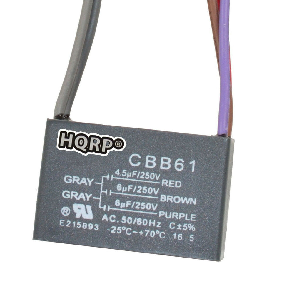 harbor breeze fan capacitor wiring diagram pioneer dxt x2669ui hqrp ceiling 4.5uf+6uf+6uf 5-wire cbb61 replacement | ebay