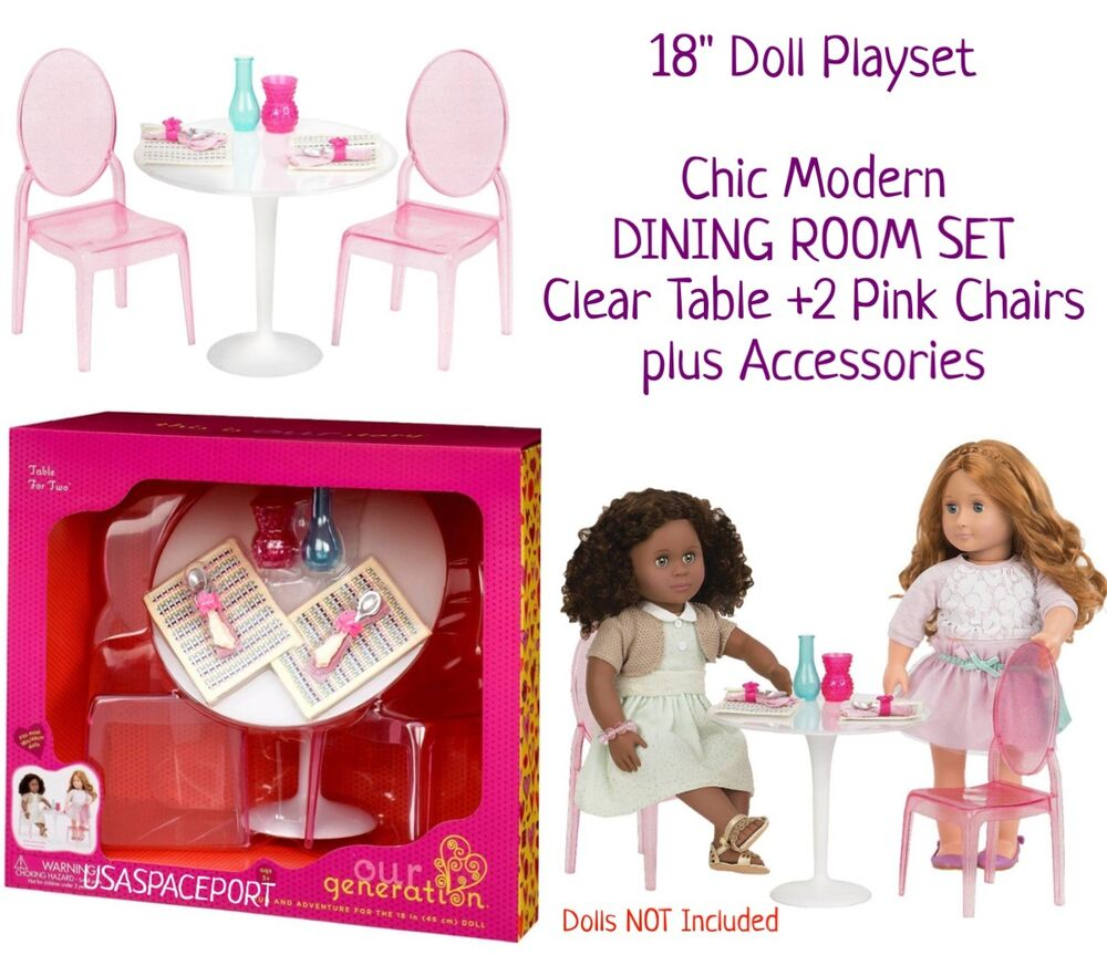 18 doll table and chairs p kolino chair canada dining room clear dishes decor gift set fits details about american girl