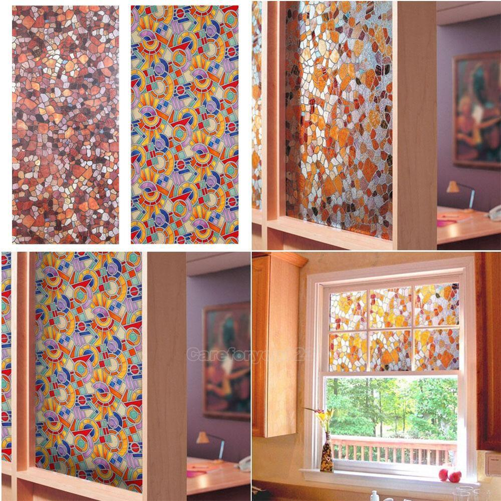 3D Static Cling Stained Glass Paper Frosted Decorative