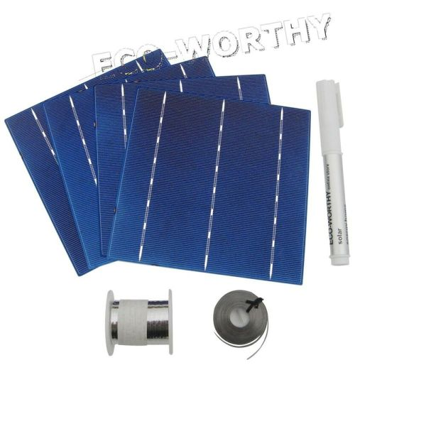 Diy 100w Solar Panel 25pcs 6x6 Cells Kit With Tab Bus Wire Flux Cell Charger 675981794530
