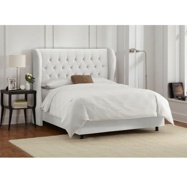 Skyline Furniture Velvet Tufted Bed White