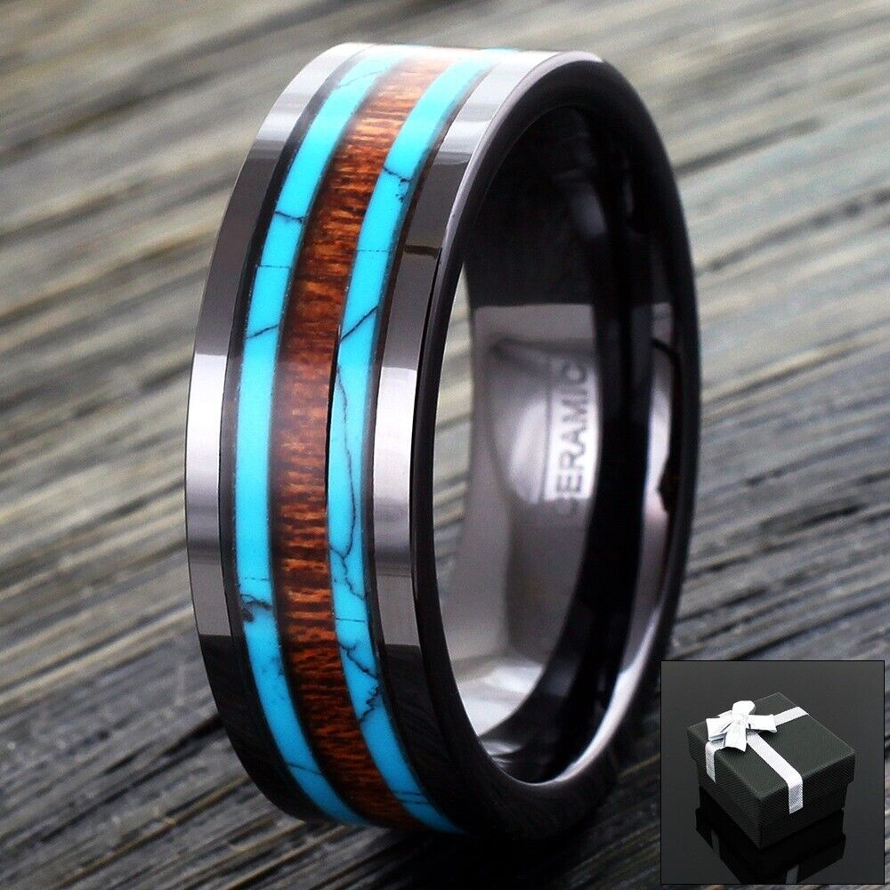 Black Hi Tech Ceramic Mens Hawaiian Koa Wood Amp Turquoise