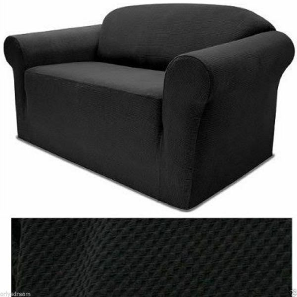 Stretch Form Fit - 3 Pcs Slipcovers Set Couch Sofa Loveseat Chair Covers Black