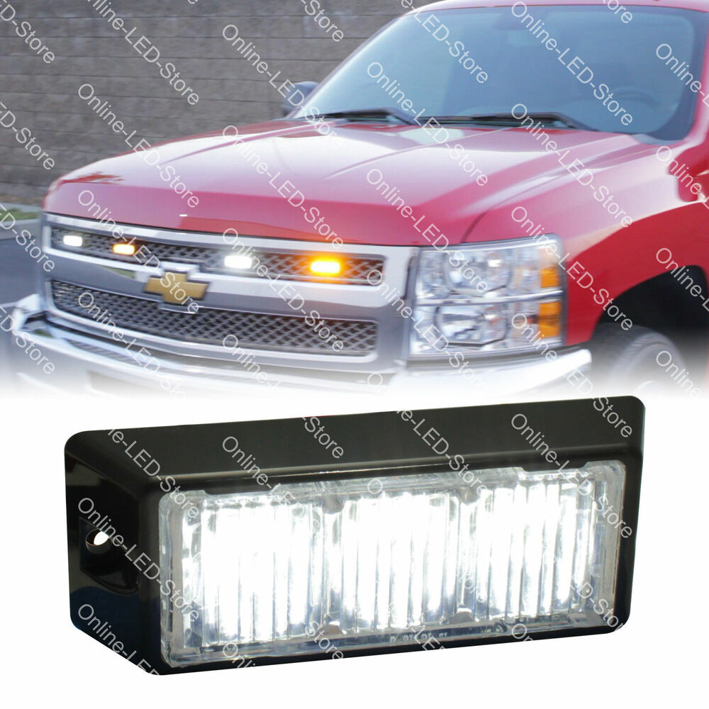 3W White LED Strobe Warning Grille Lights for Cars Trucks