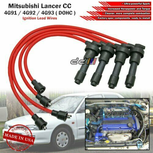 medium resolution of new 8mm spark plug ignition wire for lancer mirage 4g92 4g93 4g93t dohc 92 95