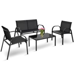 Outdoor Rattan Wicker Sofa Sectional Patio Furniture Set Sofas And Couches Black Friday 4 Pcs Coffee Table Steel Frame ...