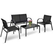4 Pcs Patio Furniture Set Sofa Coffee Table Steel Frame