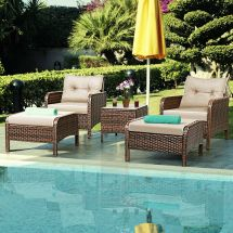 5 Pcs Rattan Wicker Furniture Set Sofa Ottoman With Cushions