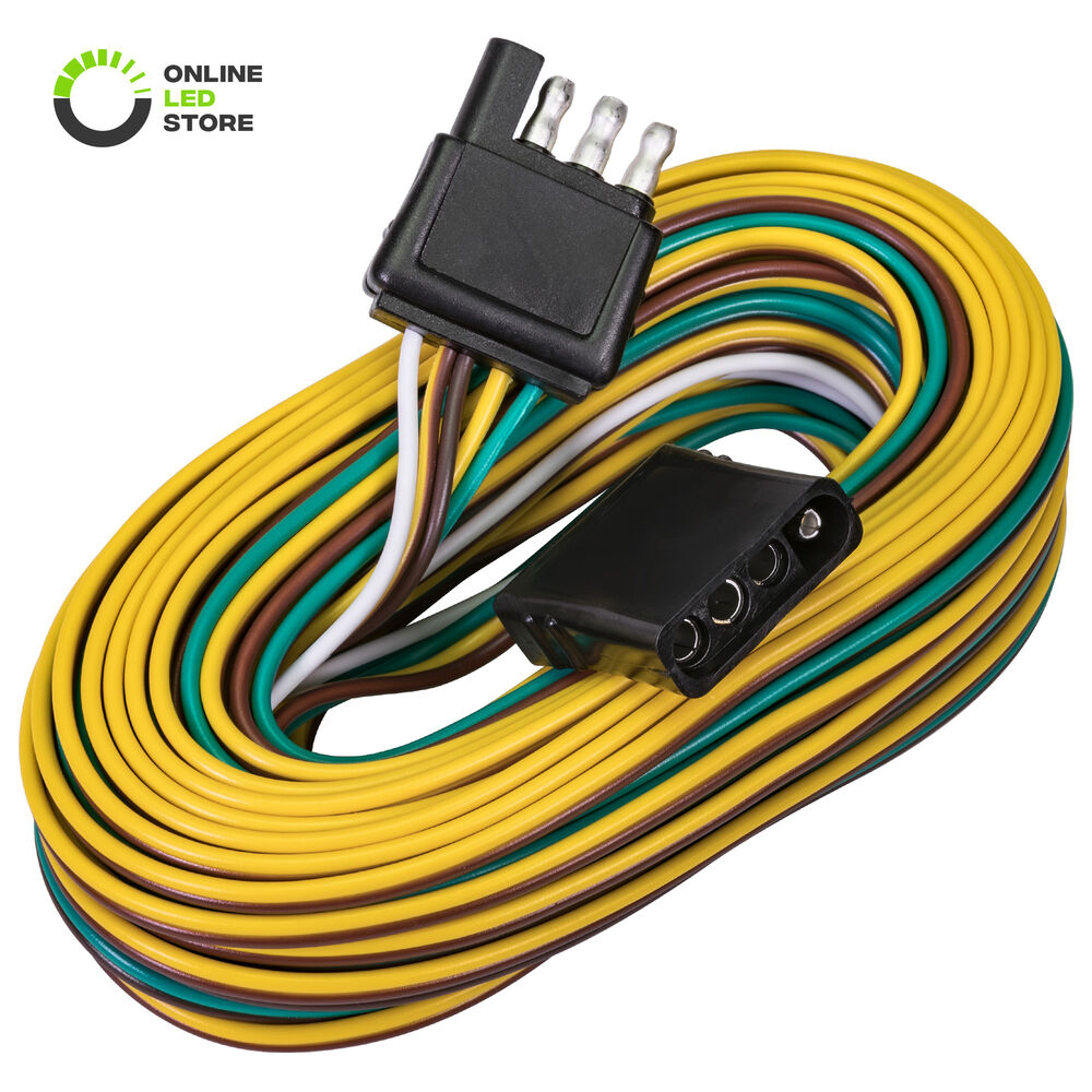 hight resolution of details about 25 4 18awg 4 way flat connector wishbone trailer hitch wiring harness kit