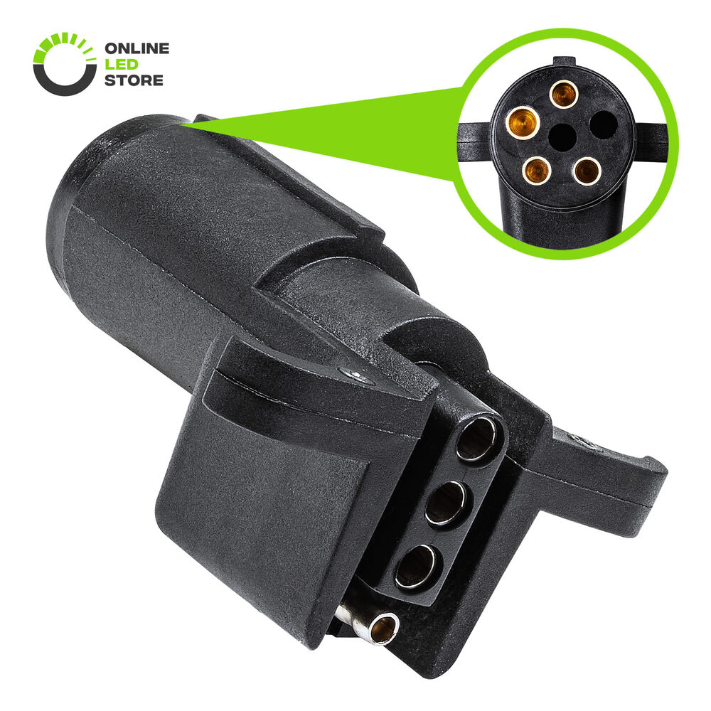 hight resolution of details about 6 way round to 4 way flat trailer wiring plug adapter 6 4pin connector rv tow