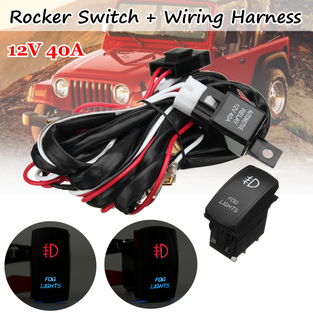 hight resolution of details about universal red led fog light wiring harness fuse laser rocker switch relay 12v dc