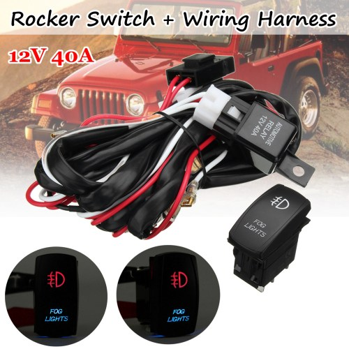 small resolution of details about universal red led fog light wiring harness fuse laser rocker switch relay 12v dc