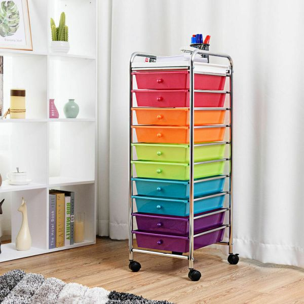 Drawer Rolling Storage Cart Craft Utility Mobile Trolley Chrome Scrapbook