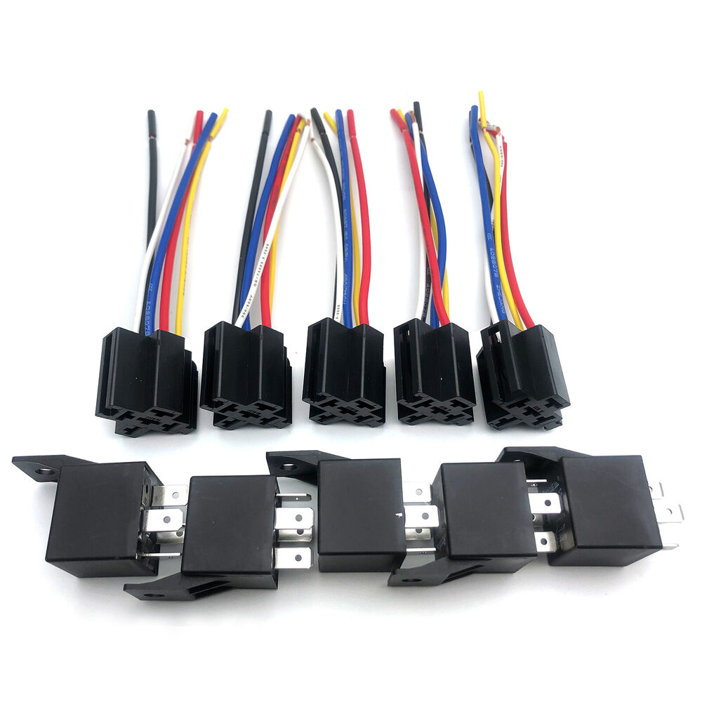 medium resolution of details about 5 pack dc 12v 30 40 amp car spdt automotive relay 5 pin with harness socket set