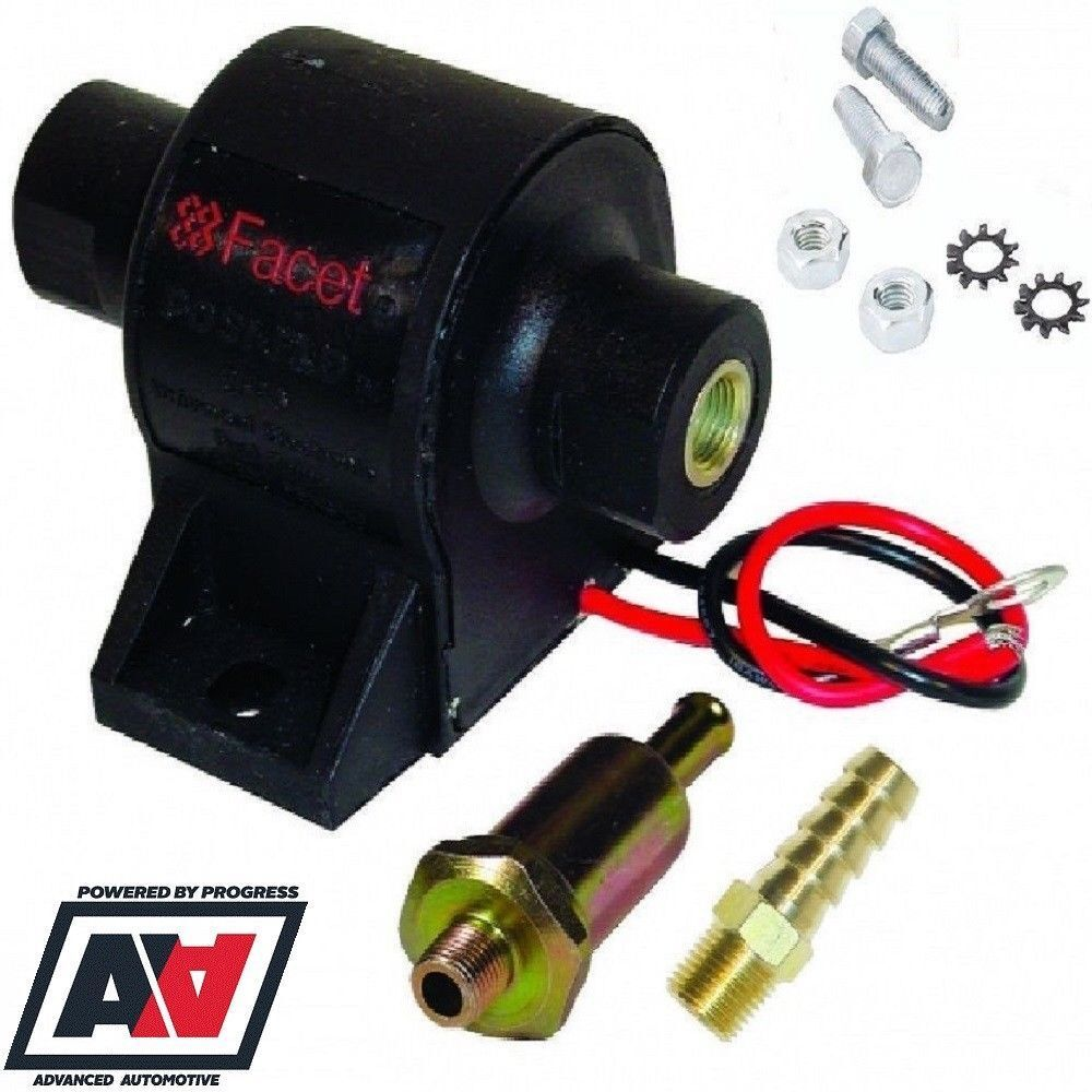 hight resolution of details about facet posi flow fuel pump 1 5 to 4 0 psi with 8mm union and fuel filter adv