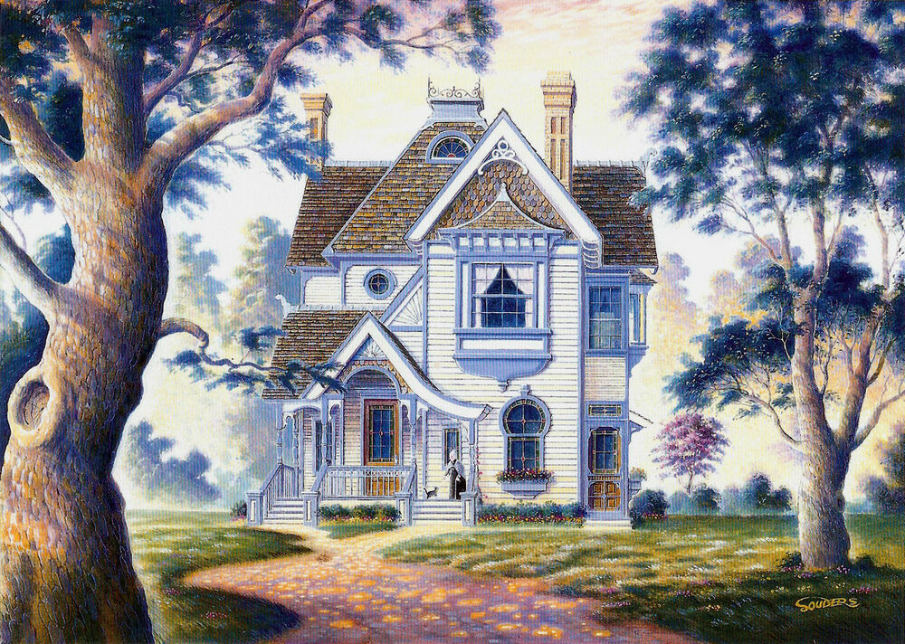 Grandma Victorian House Cottage Cat Signed Art Souders EBay