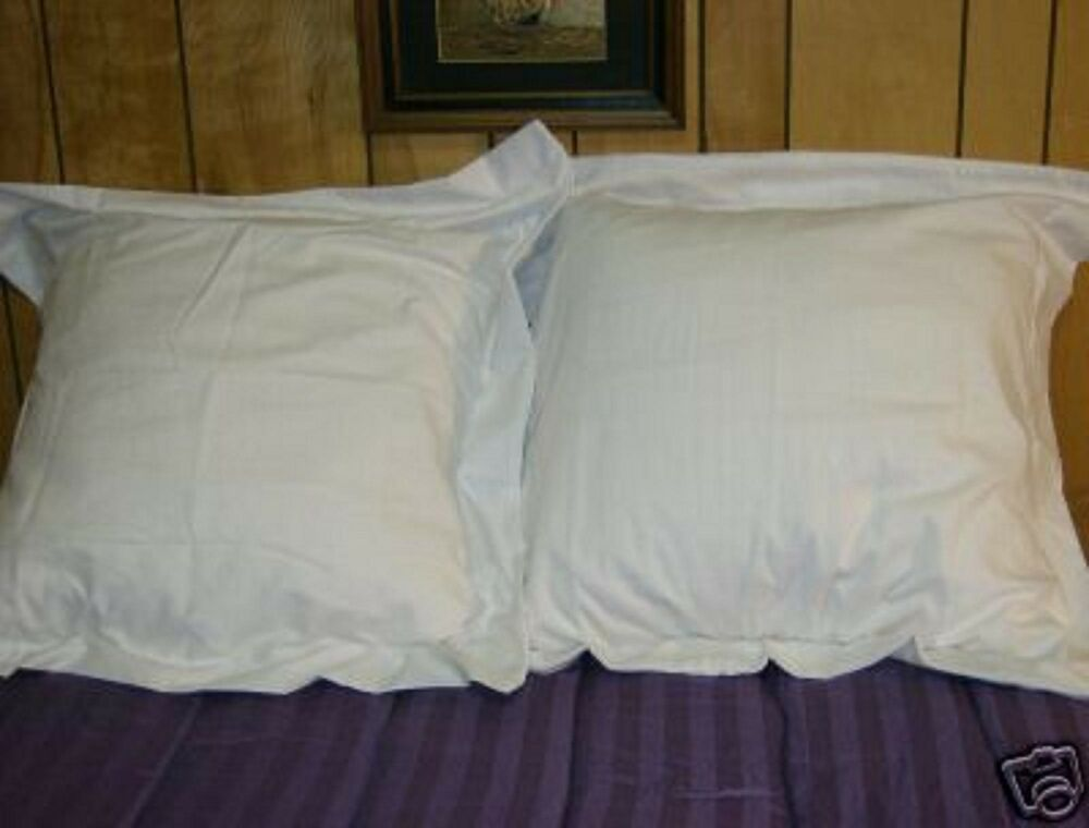 2 EURO or EUROPEAN PURE WHITE PILLOW SHAMS 26X26 made in