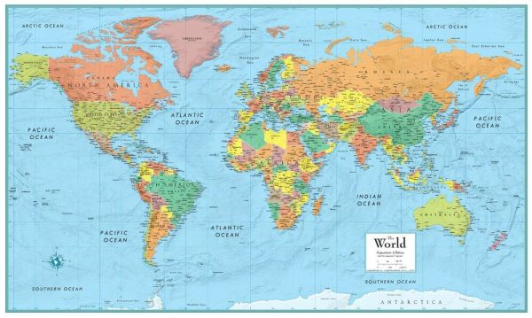 World Map Poster MSeries Large Wall Map Rand McNally