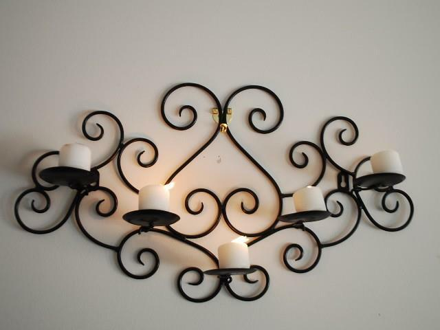 Wrought Iron Candle Sconce Holder Wall Decor Black Color