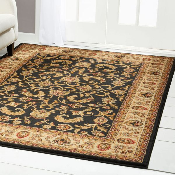 Traditional Black Beige Green Floral Persian Area Rug