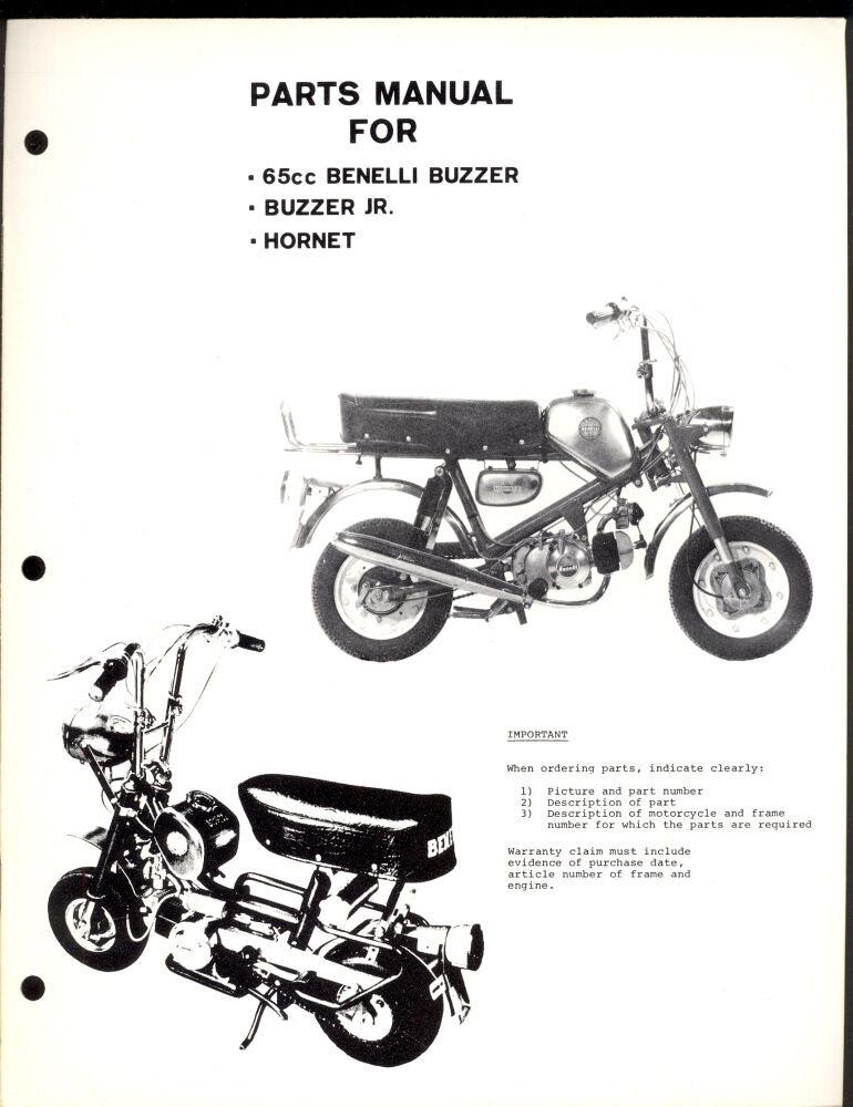 BENELLI BUZZARD & Jr. / HORNET 65cc PARTS MANUAL