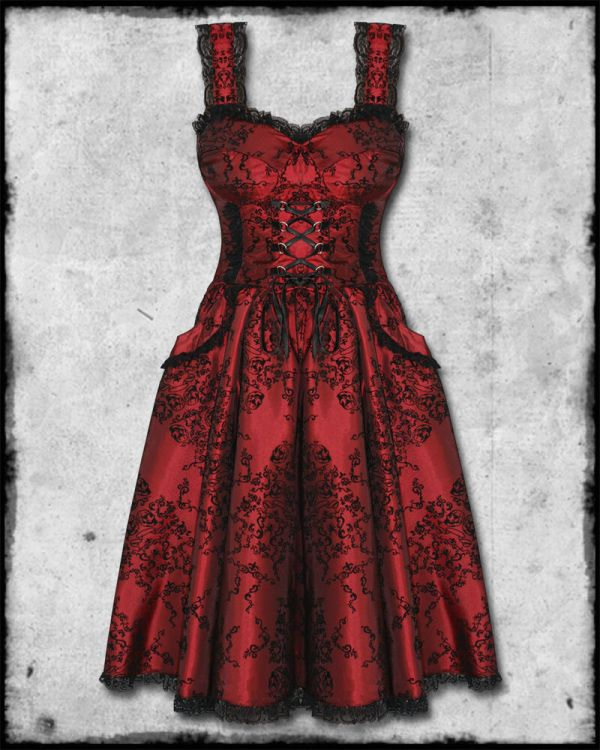 Spin Doctor Red Black Flocked Goth Steampunk Victorian