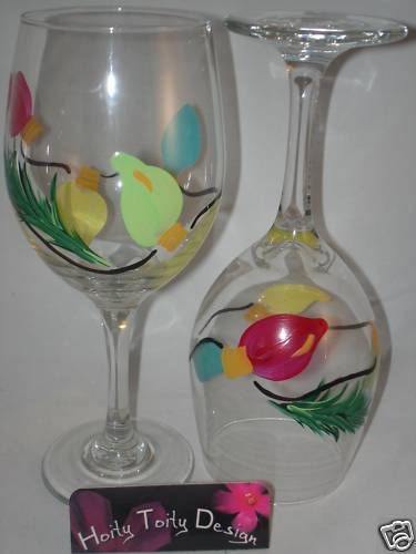 2 Hand Painted String Of Christmas Lights Wine Glasses EBay