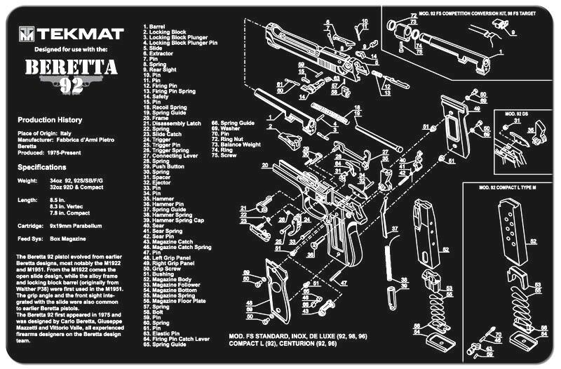 glock 22 exploded diagram 2004 ford explorer ignition wiring beretta m9 or 92 armorers gun cleaning bench mat w/exploded view schematic parts | ebay