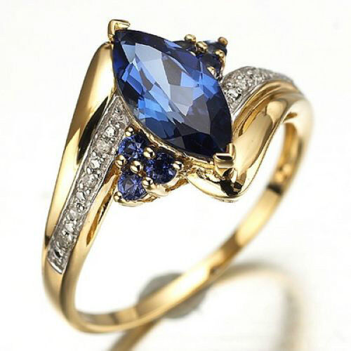 Jewellry Size 612 Womens Blue Sapphire Gold Filled