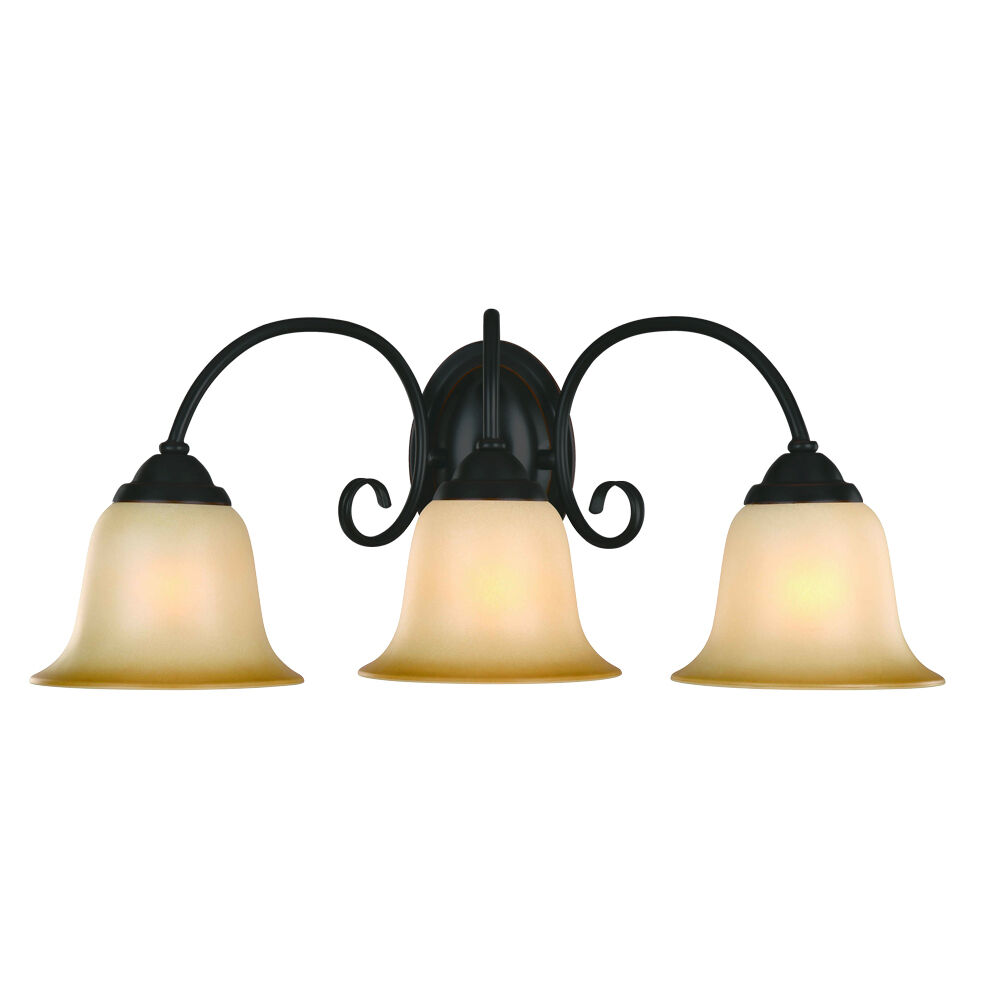 Oil Rubbed Bronze 3 Bulb Bathroom Light Wall Sconce