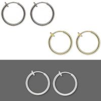 Pair of 17mm Round Clip on Hoop Earrings With Spring ...