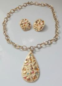 Vintage Signed Sarah Coventry Rhinestone Necklace Earrings