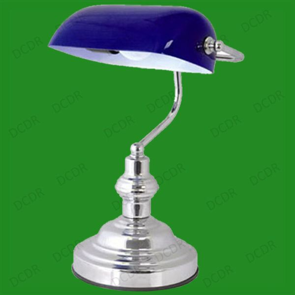 """15"""" Advocate Bankers Desk Lamp Blue Glass Shade & Chrome"""
