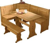 PUERTO RICO 3 CORNER BENCH NOOK PINE TABLE AND BENCH SET
