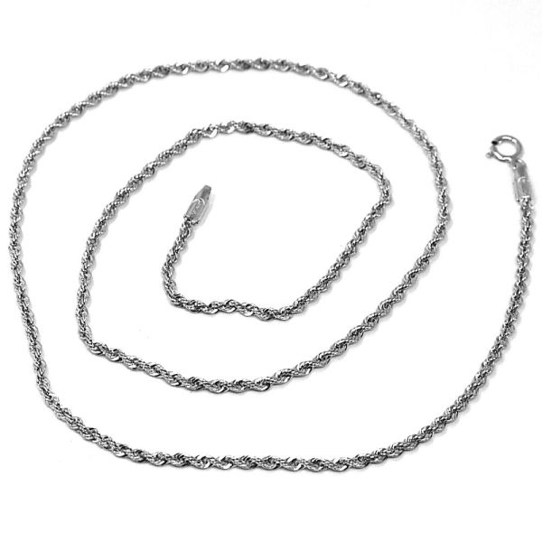 18k White Gold Chain Necklace Braid Rope 18 Inches