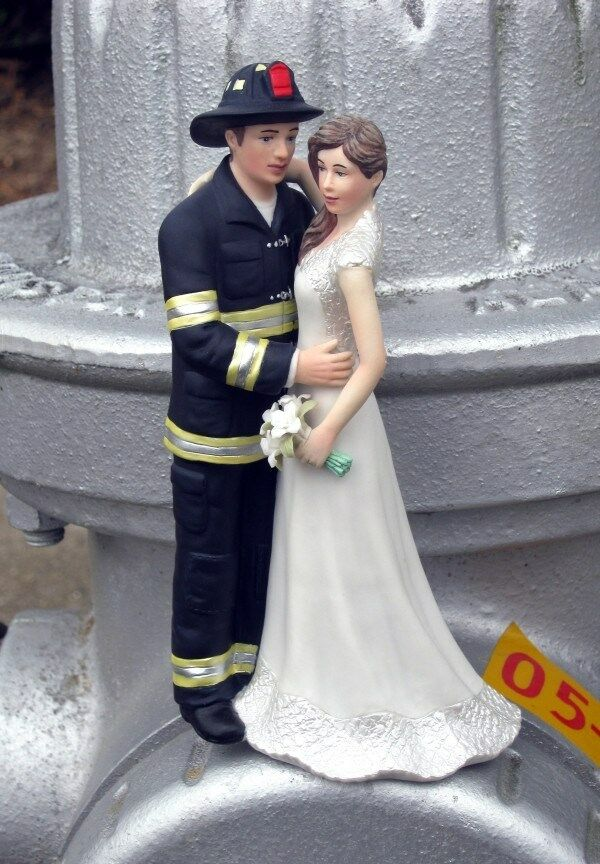 Fireman with Bride Wedding Cake Topper Custom Colors Available  eBay