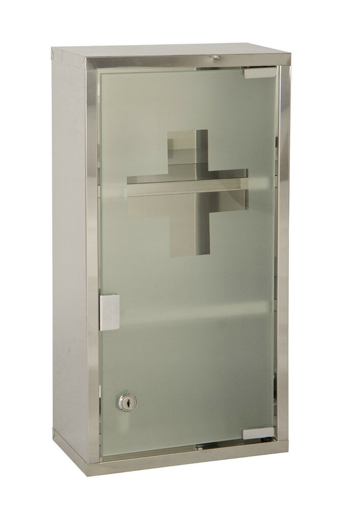 Wall Mounted Lockable 2 Keys Large Medicine Cabinet First