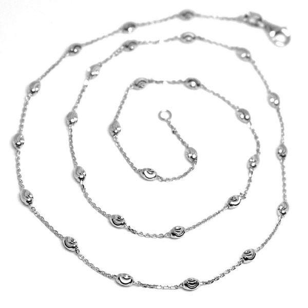 Solid 18k White Gold Chain Necklace Faceted Mini Balls
