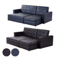 Deluxe Faux Leather Corner Sofa Bed Storage Sofabed Couch ...
